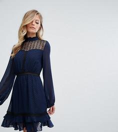 Короткое приталенное платье с кружевной отделкой и длинными рукавами Dark Pink - Темно-синий