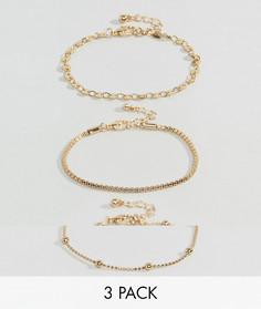 3 браслета из шариковой цепочки с дисками ASOS - Золотой