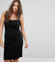 Облегающее платье миди с принтом Love на бретельках ASOS CURVE - Черный