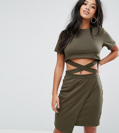 Облегающее платье-футболка мини с вырезами и ремешками ASOS PETITE - Мульти