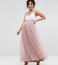 Юбка макси из тюля Little Mistress Maternity - Розовый