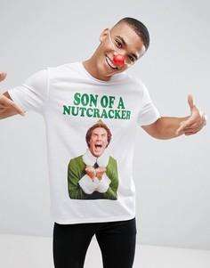 Свободная новогодняя футболка ASOS - Белый