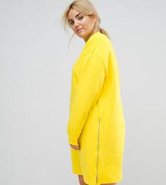 Трикотажное платье оверсайз с молниями ASOS CURVE - Желтый