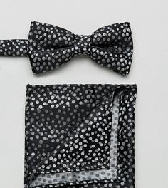 Черные галстук-бабочка и платок для нагрудного кармана в горошек New Look - Черный