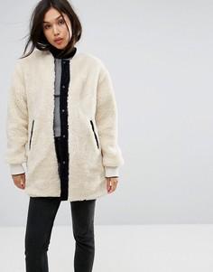 Двусторонняя куртка из вельвета и искусственного меха Parka London Ezra - Кремовый