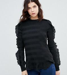 Фактурная блузка с оборкой Y.A.S Tall Diana - Черный