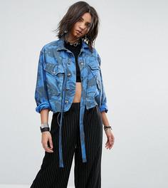 Окрашенная винтажная куртка в стиле милитари с бантом на шее Milk It - Синий