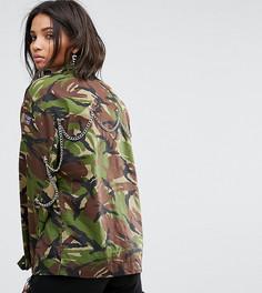 Камуфляжная куртка с цепочками на спине Milk It Vintage - Зеленый