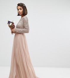 Платье макси с длинными рукавами и юбкой из тюля Maya Petite - Коричневый