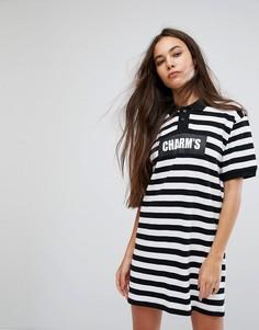 Платье-поло в широкую полоску с логотипом Charms - Черный