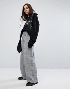 Широкие брюки в клетку Charms - Серый