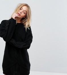Вязаное оверсайз-платье с узором косичка OneOn - Черный