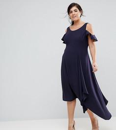 Мягкое платье с открытыми плечами Coast Plus - Темно-синий