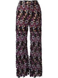 брюки с цветочным принтом   Self-Portrait