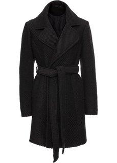 Шерстяное пальто с лацканами (черный) Bonprix