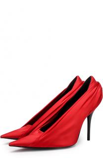 Атласные туфли с декоративной отделкой на шпильке Balenciaga