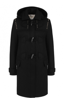 Шерстяное пальто-дафлкот с капюшоном Valentino