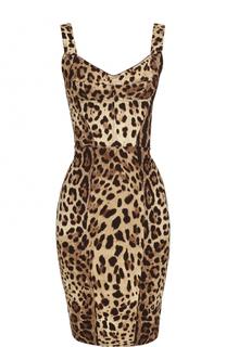 Платье-футляр с леопардовым принтом Dolce & Gabbana