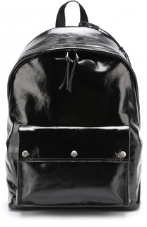 Кожаный рюкзак с внешним карманом на кнопках Saint Laurent