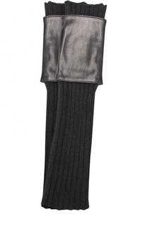 Текстильные митенки с кожаной отделкой Sermoneta Gloves