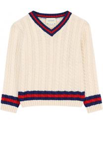 Шерстяной пуловер фактурной вязки Gucci