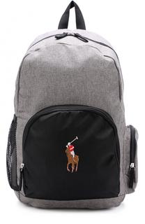 Текстильный рюкзак с внешними карманами и логотипом бренда Polo Ralph Lauren