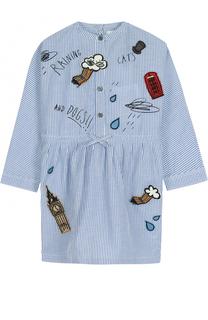 Платье из смеси хлопка и льна в полоску с надписями и нашивками Burberry