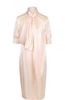 Шелковое платье с укороченным рукавом и воротником аскот Givenchy