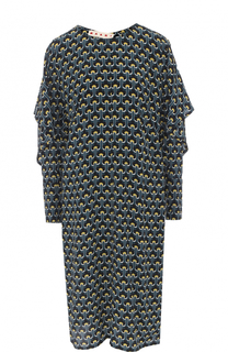 Шелковое платье с объемными рукавами и принтом Marni