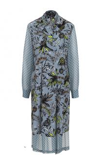 Шелковое платье с принтом и воротником аскот Markus Lupfer