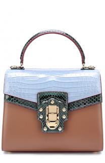 Сумка Lucia с отделкой из кожи питона и кожи крокодила Dolce & Gabbana