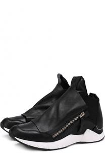 Высокие кожаные кроссовки без шнуровки на молнии Cinzia Araia