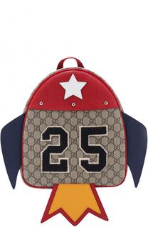 Текстильный рюкзак с принтом и фигурным декором Gucci