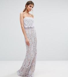 Кружевное платье-бандо макси Jarlo Tall - Фиолетовый