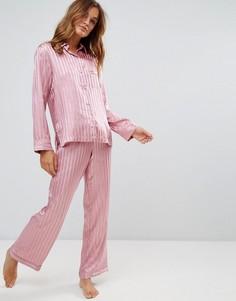 b2f464503441b Атласный пижамный комплект с рубашкой и штанами в полоску Boux Avenue -  Розовый