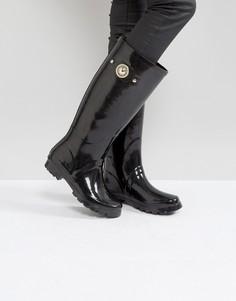Блестящие резиновые сапоги с золотистой пуговицей Versace Jeans - Черный