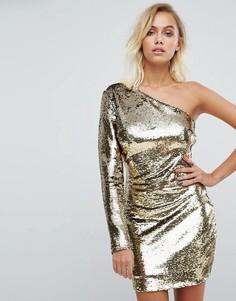 Платье на одно плечо с золотистыми пайетками Fashion Union - Золотой