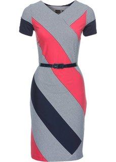Платье (темно-синий/белый/коралловый в горизонтальную полоску) Bonprix