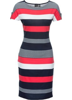 Платье (белый/красный/морской в полоску) Bonprix