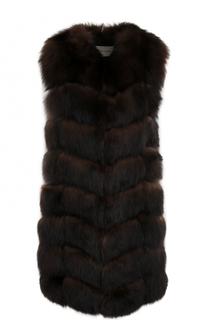 Удлиненный жилет из меха лисы Yves Salomon