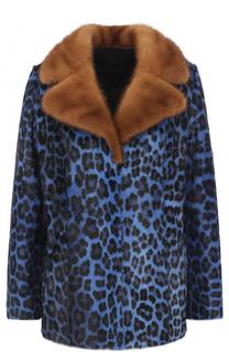 Шуба из меха козлика и норки с леопардовым принтом Simonetta Ravizza