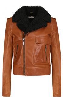 Кожаная куртка с косой молнией и меховой отделкой Saint Laurent