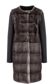 Пальто из смеси шерсти и кашемира с отделкой из меха норки Yves Salomon