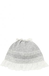 Хлопковая шапка с кружевным декором и оборкой Aletta