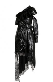 Приталенное платье асимметричного кроя с открытым плечом self-portrait