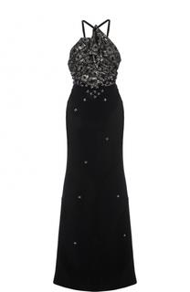 Приталенное платье-макси с декорированным лифом Roland Mouret