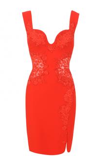 Приталенное мини-платье с кружевными вставками Roberto Cavalli
