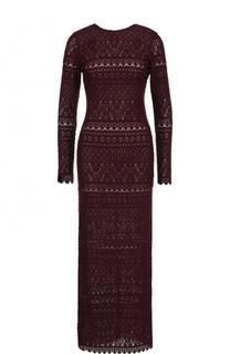 Приталенное кружевное платье-макси с длинным рукавом Alice + Olivia