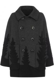 Двубортное шерстное пальто с накладными карманами Dsquared2