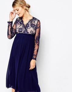 Приталенное платье для беременных с кружевной отделкой Little Mistress Maternity - Темно-синий